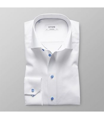 White Twill with Blue Details